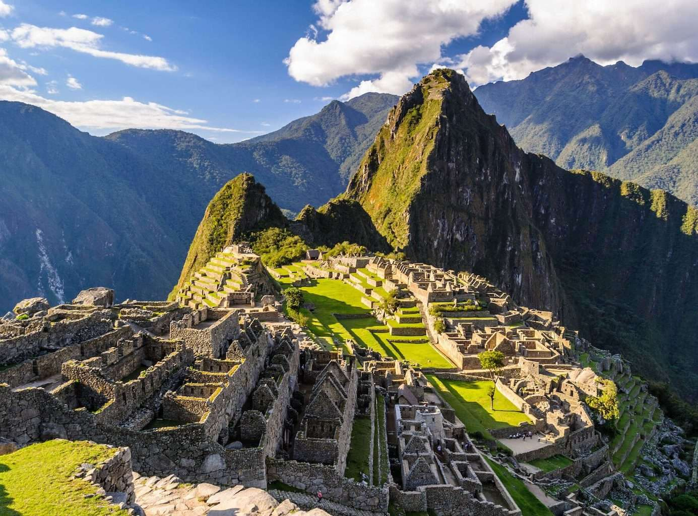 South America Holidays, Machu Pichu view with sky and clouds
