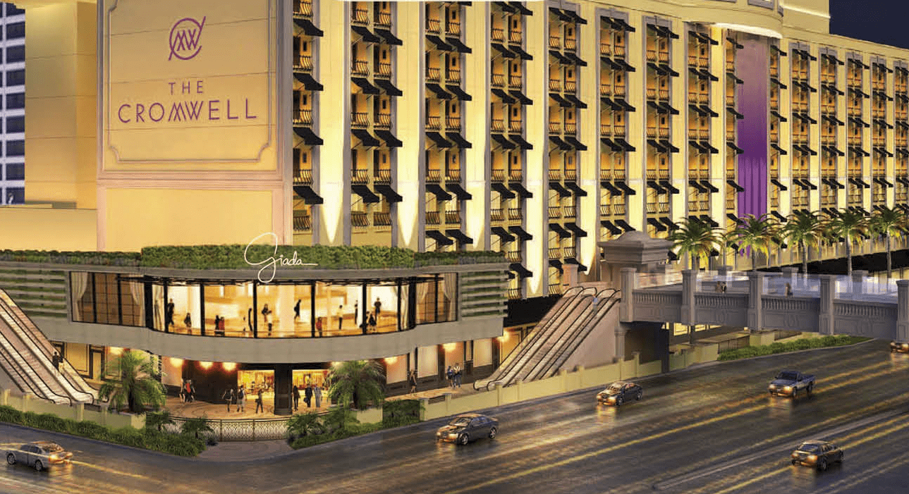 View of the exterior at night at The Cromwell in Las Vegas