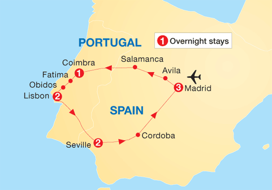 Itinerary of the Lisbon, Seville and Madrid 9 day tour