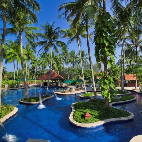 View of the swimming pool at Banyan Tree Phuket in Thailand