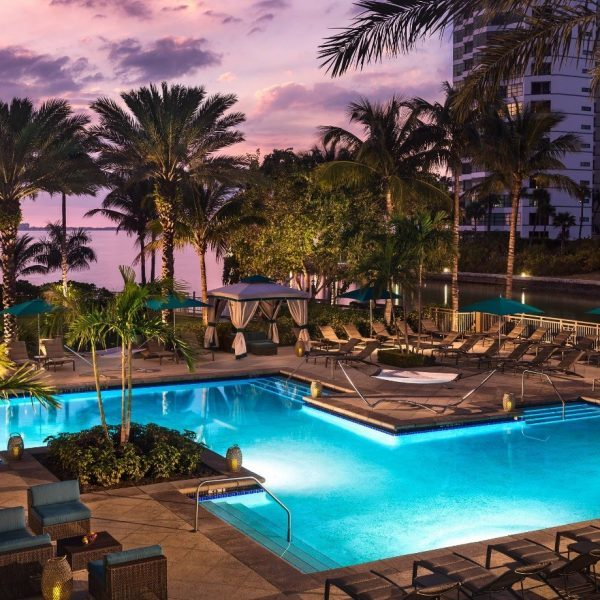 The swimming pool in the evening at The Ritz-Carlton Sarasota in Florida