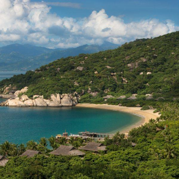 View of the sea and beach at Six Senses Ninh Van Bay in Vietnam
