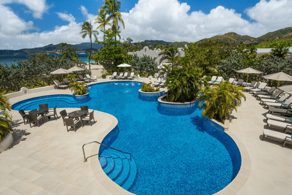 View of the swimming pool at Spice Island Beach Resort in Grenada