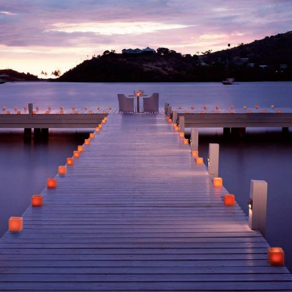 Romantic dinner on the deck at Carlisle Bay in Antigua