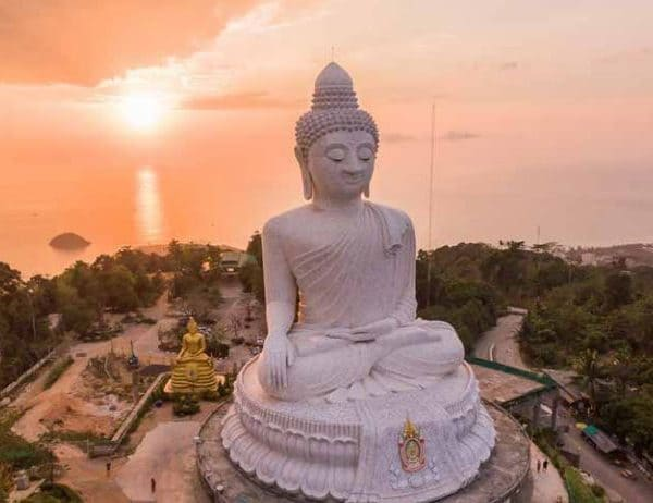 Phuket Offer Buddha at the sunset