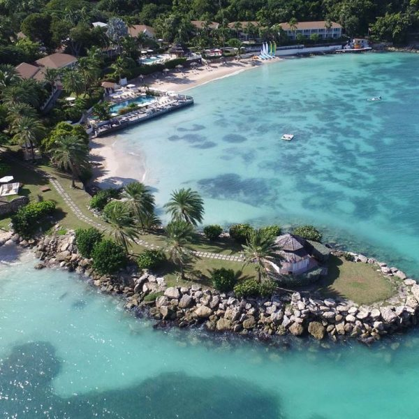 Aerial view of Blue Waters Hotel in St Johns, Antigua.