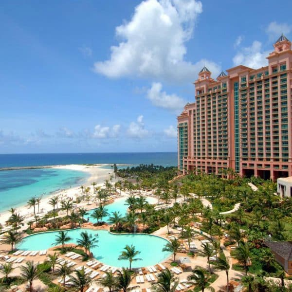 View of the swimming pool and The Cove Atlantis on Paradise Island, Bahamas.