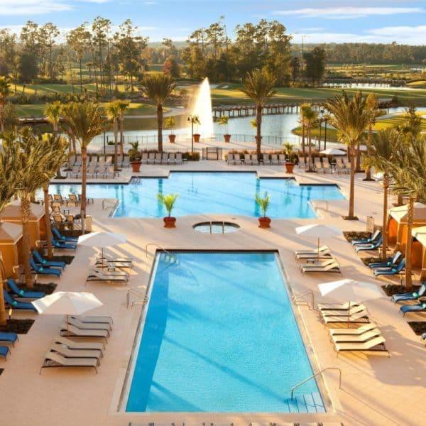 View of the Waldorf Astoria Orlando swimming pool in Orlando, Florida