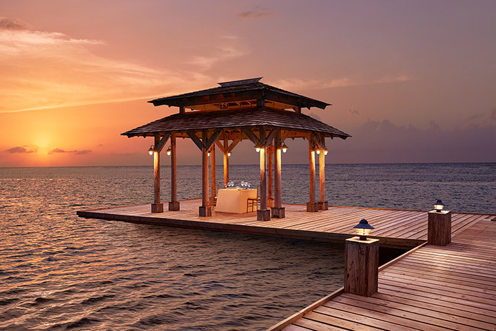 View of the Gazebo over the sea at Zoetry Montego Bay in Jamaica