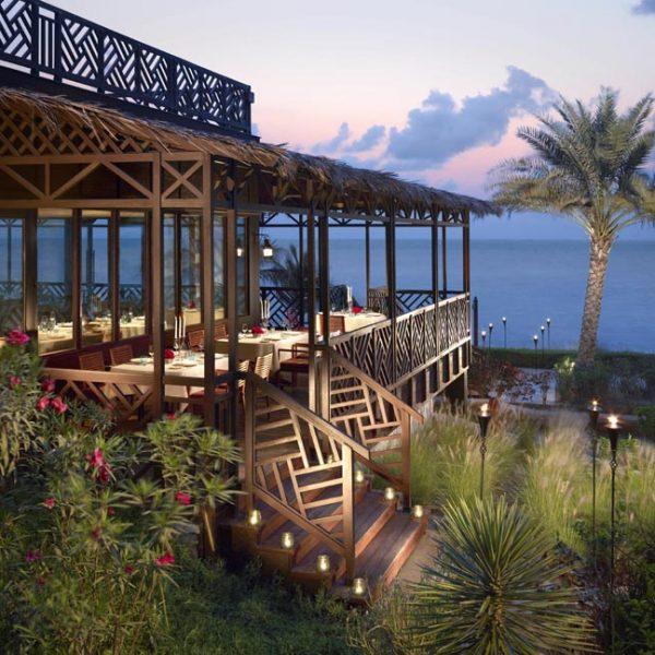 Dusk view of the restaurant at Shangri-La Al Husn in Barr Al Jissah in Muscat
