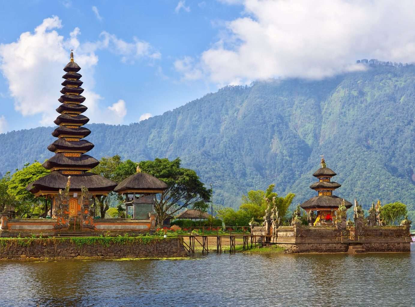 Luxury Bali Holidays - mountains, temple and water shot