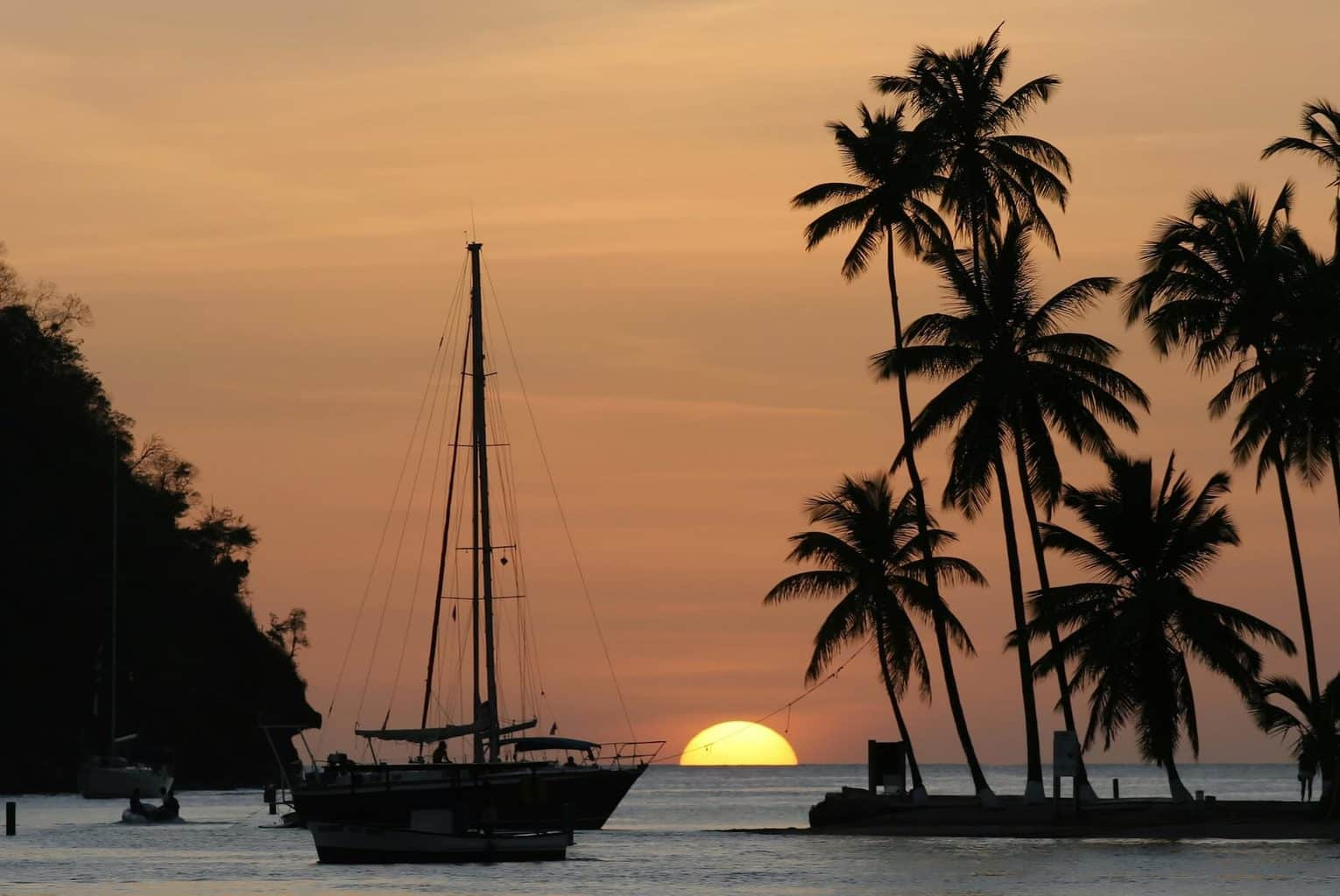 Luxury Holiday to St Lucia - Boat, palm tree on ocean at sunset