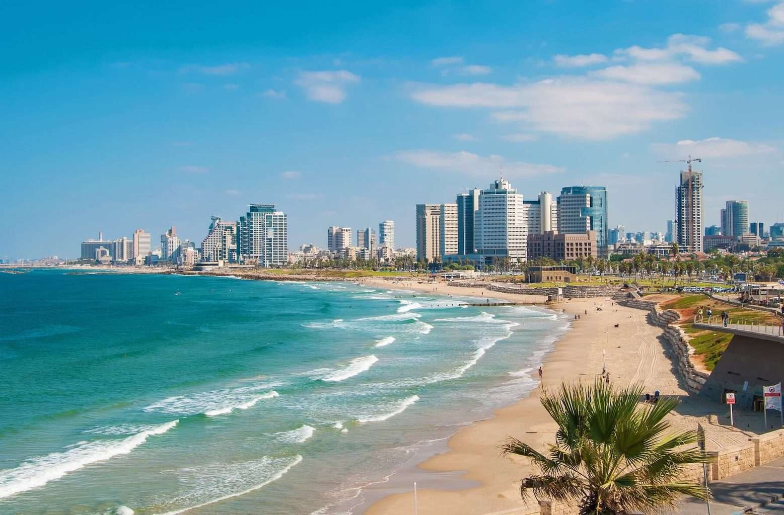 Tel Aviv holidays - beach and ocean view with city in background