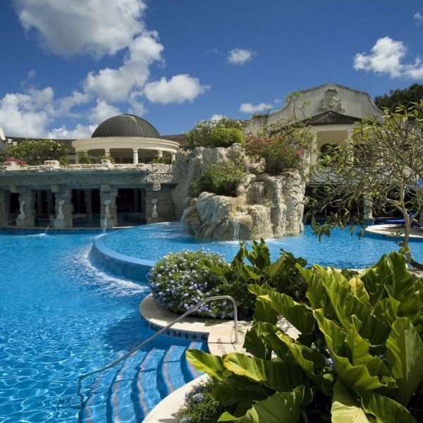 View of the swimming pool at Sandy Lane in Barbados