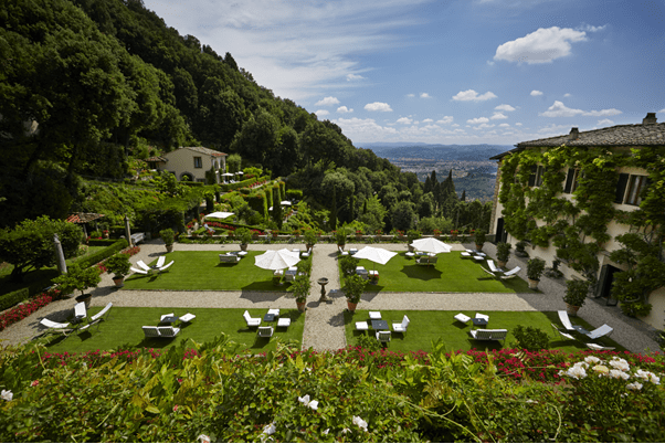 View of the gardens at Belmond Villa San Michele Florence in Italy