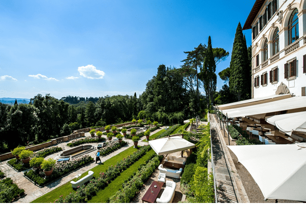 View of the exterior and gardens at Il Salviatino Florence in Italy