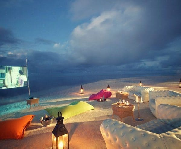 View of the cinema on the beach at LUX Belle Mare in Mauritius