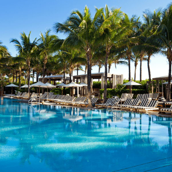 View of the swimming pool at W South Beach in Miami Florida