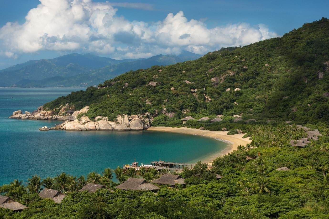 View of the sea and beach at Six Senses Ninh Van Bay in Vietnam