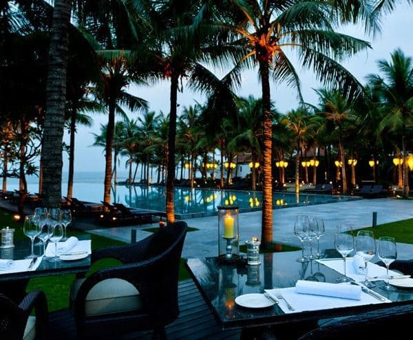 View of the swimming pool at the Four Seasons The Nam Hai in Hoi An, Vietnam