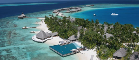 Aeiral view of the PER AQUUM Huvafen Fushi in the Maldives