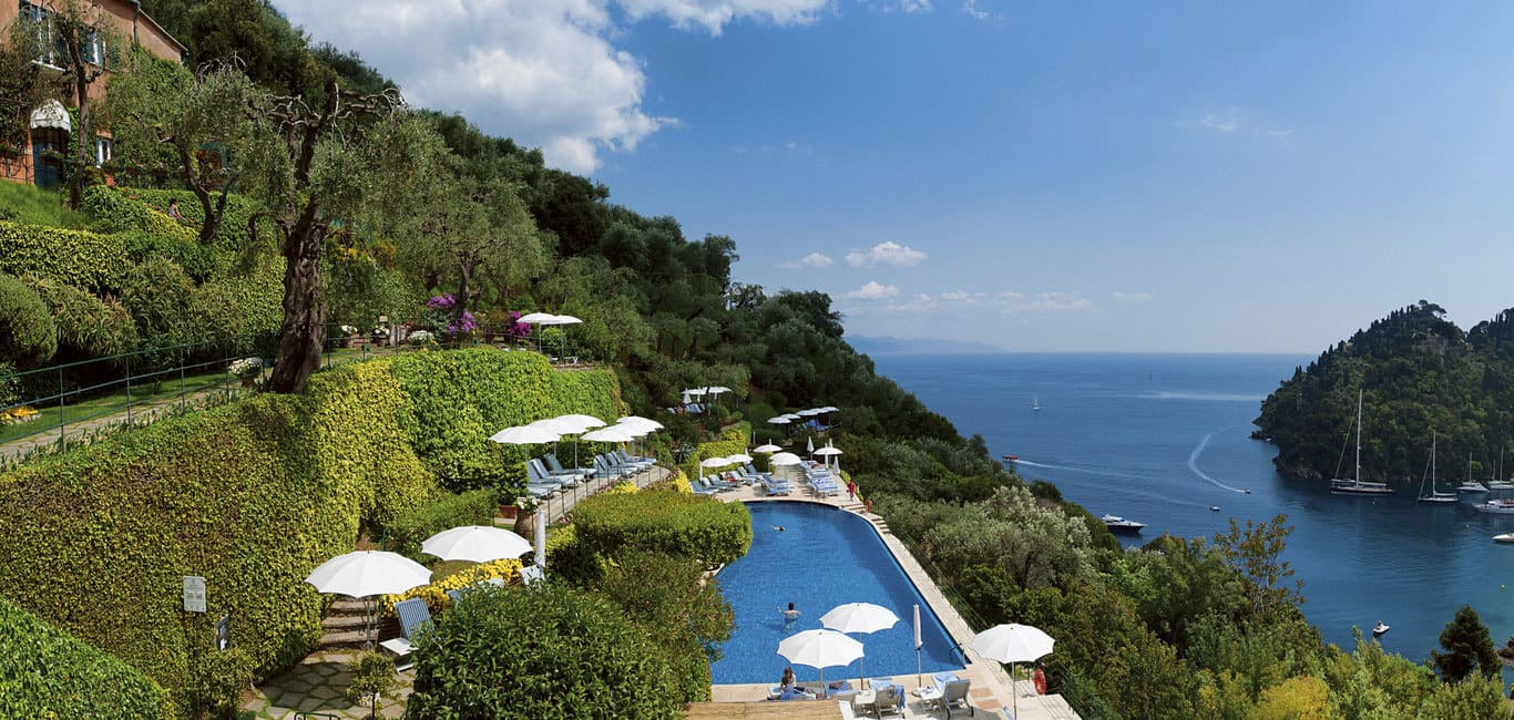 View of the swimming pool in the hills at Belmond Hotel Splendido in Portofino Italy.