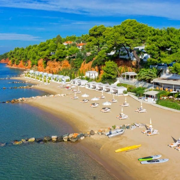 View of the beach at Danai Beach Resort & Spa in Halkidiki, Greece