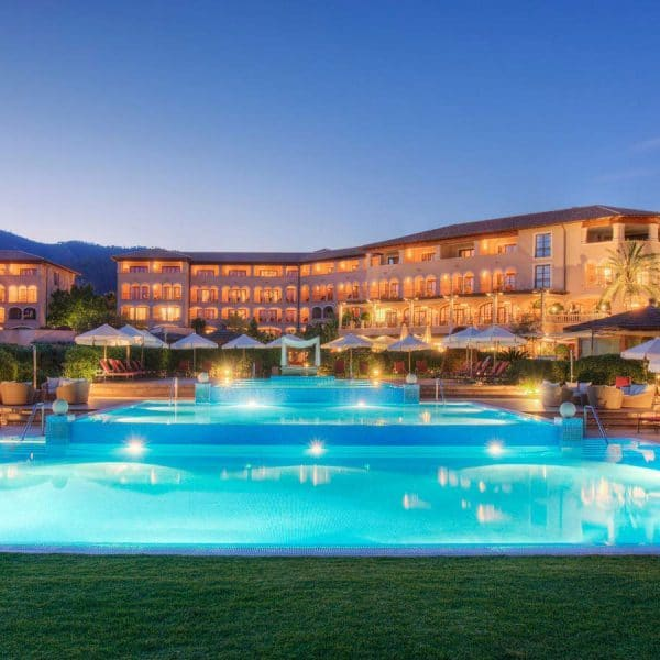 View of the swimming pool at St Regis Mardavall in Majorca