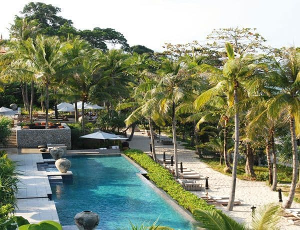 View of the swimming pool at Trisara in Phuket, Thailand