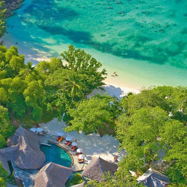 Ariel view of Constance Ephelia Resort in the Seychelles