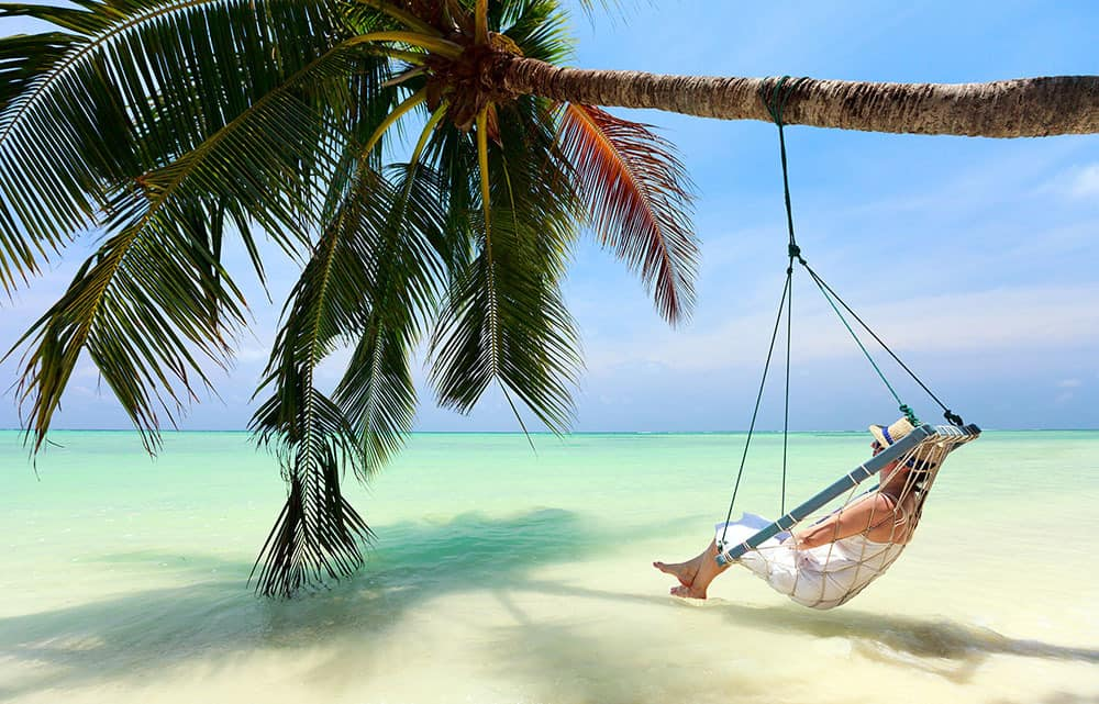 Hammock and beach view in the maldives