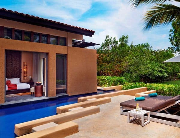 View of a private pool in one of the rooms at Banyan Tree Mayakoba
