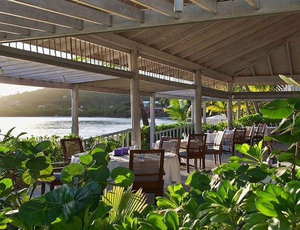 Dining overlooking the sea at Carlisle Bay Antigua