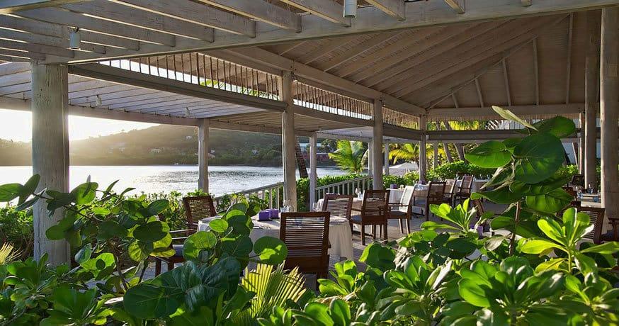 Dining overlooking the sea at Carlisle Bay Antigua