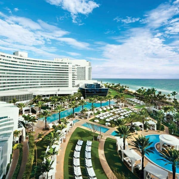 Exterior view of the pool and beach at Fontainebleau Miami Beach in Florida
