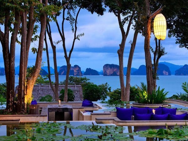 Evening view of Six Senses Yao Noi in Phang Nga Bay, Thailand