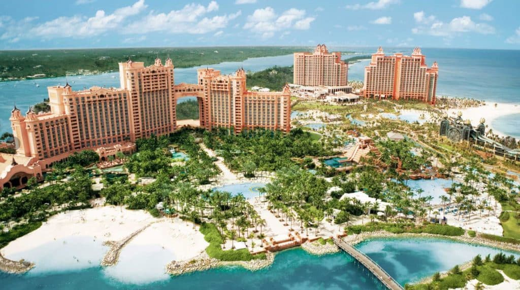 Atlantis Bahamas best hotels with waterparks in the world arial view