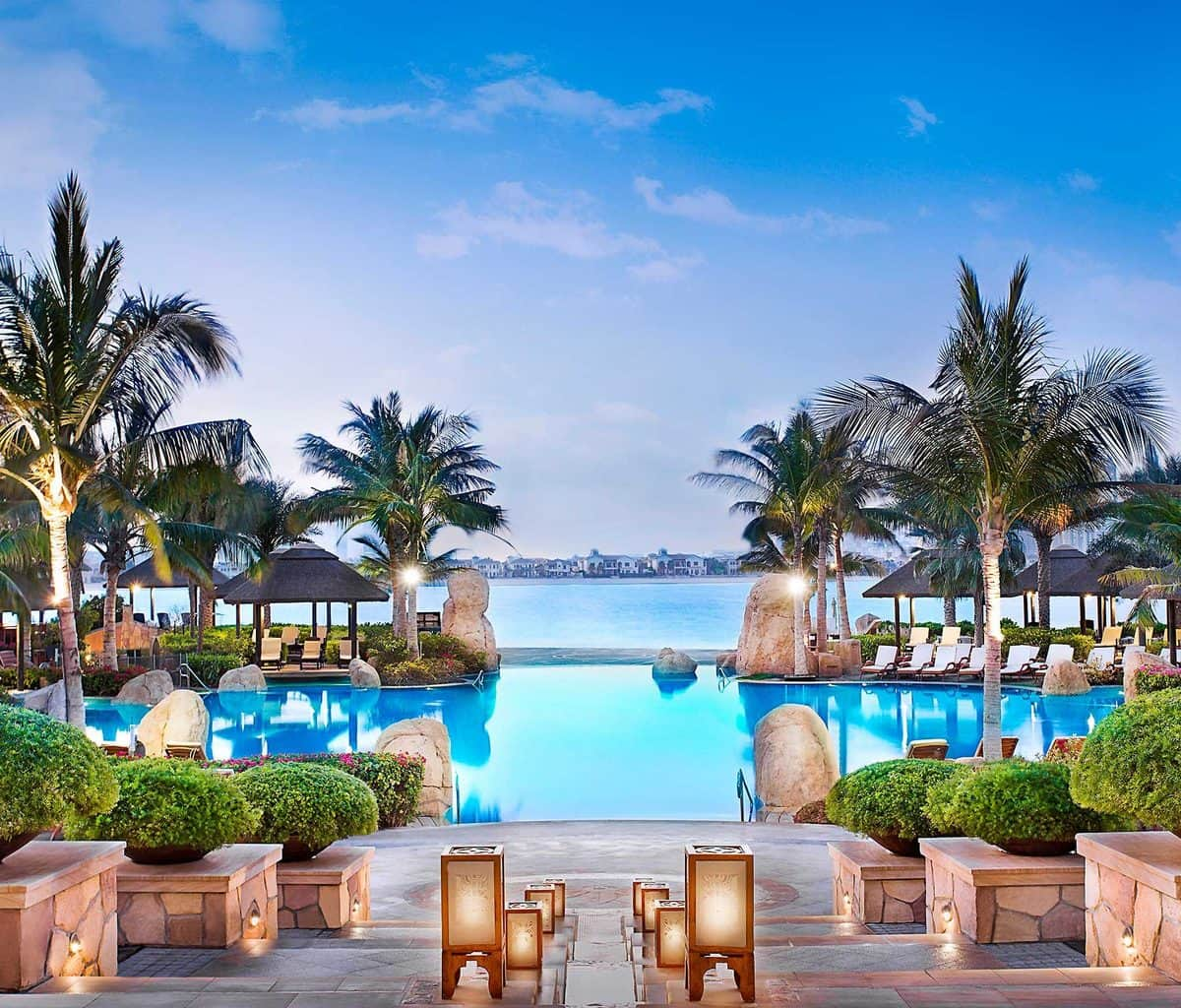 Looking out across the swimming pool to the Arabian Gulf at Sofitel Dubai The Palm Resort