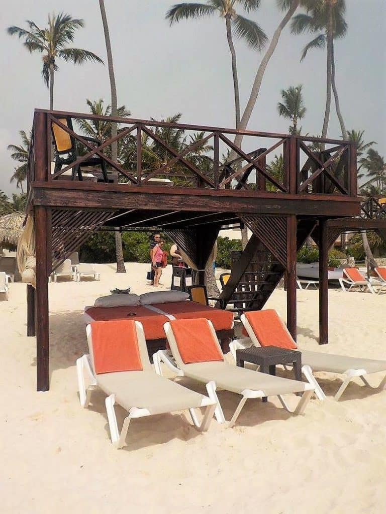 View of the beach cabanas at Now Larimar Punta Cana
