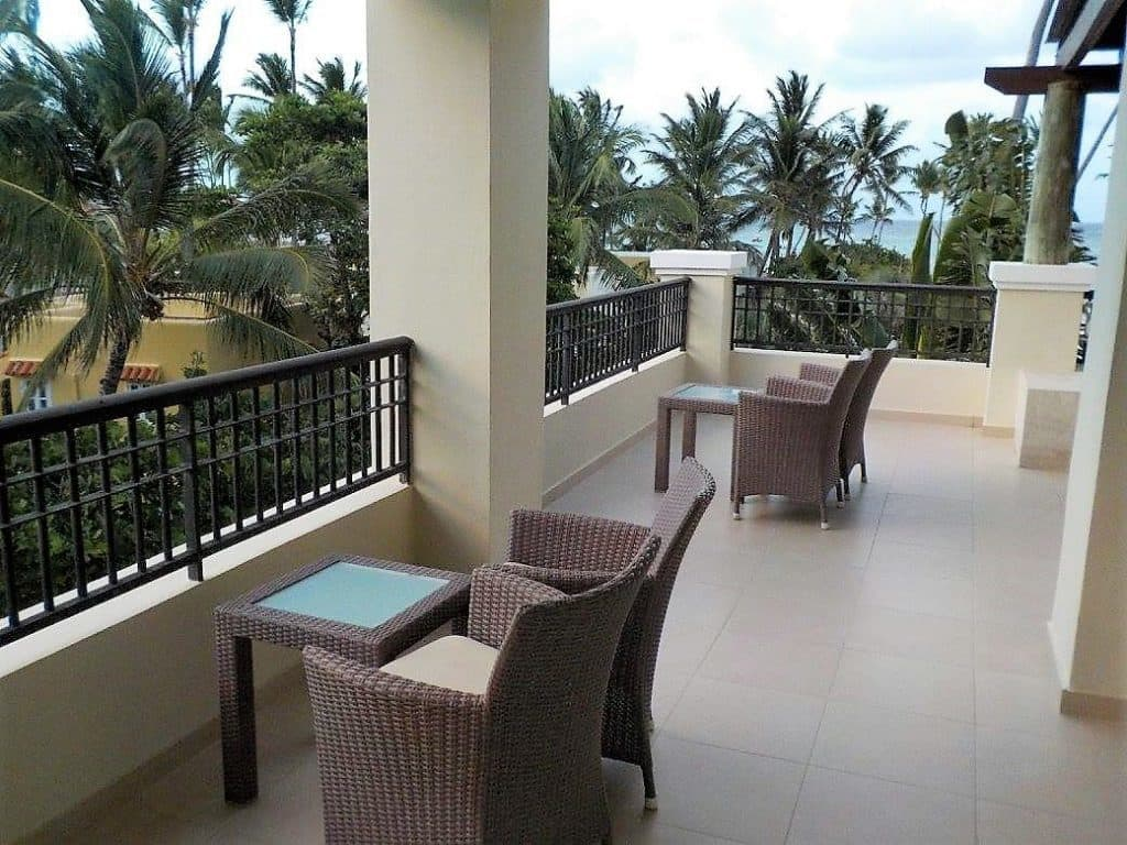 View of the balcony in the Preferred Club Partial Ocean View room at Now Larimar Punta Cana