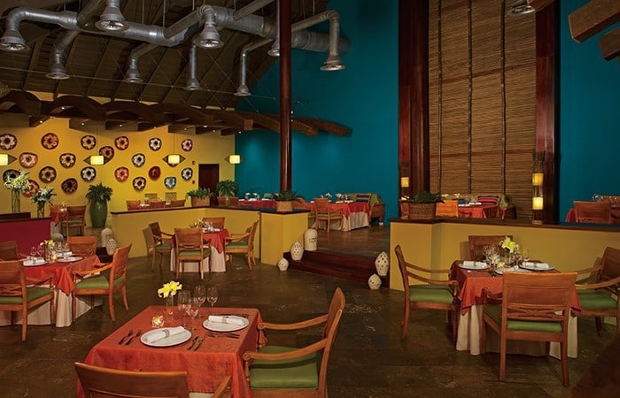 View of the interior at the Mexican Tamarindo Restaurant in Now Larimar Punta Cana