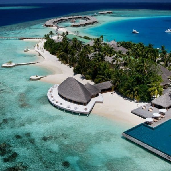 Aerial view of PER AQUUM Huvafen Fushi in the Maldives