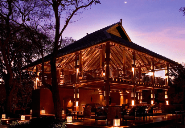 View of the dining and entertainment in the evening at Hyatt Regency Hua Hin in Thailand