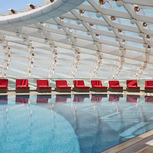 View of the swimming pool at Yas Viceroy, Abu Dhabi