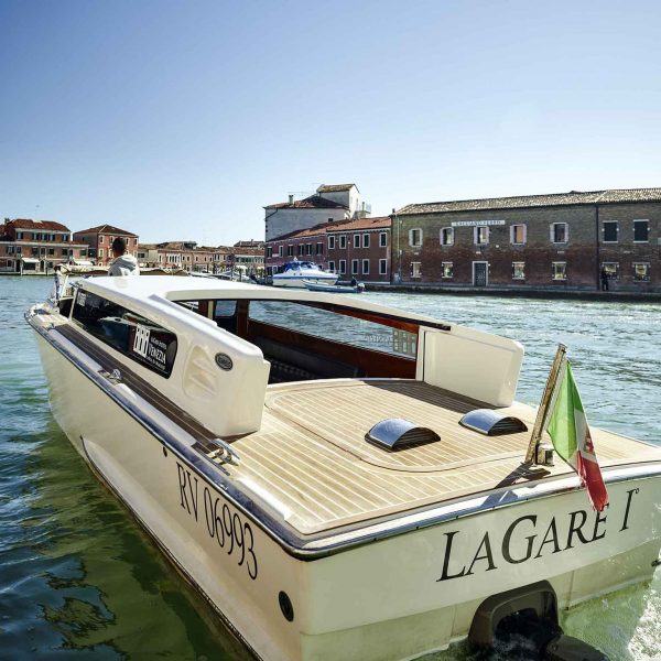 View of the water taxi at laGare Hotel Venezia, Venice, Italy