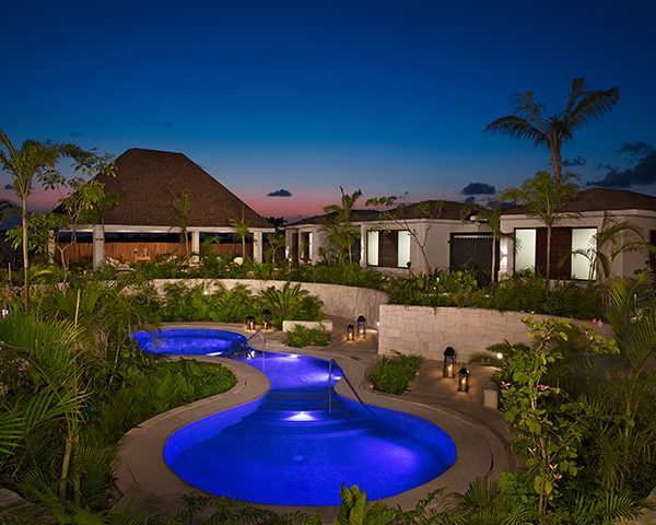 The spa at Dreams Playa Mujeres in the evening