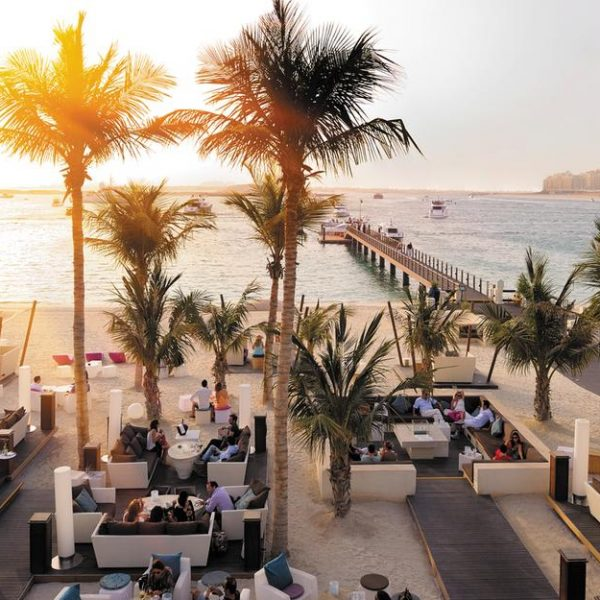 View of the Jetty at sunset. Arabian Court at One and Only Royal Mirage in Dubai.