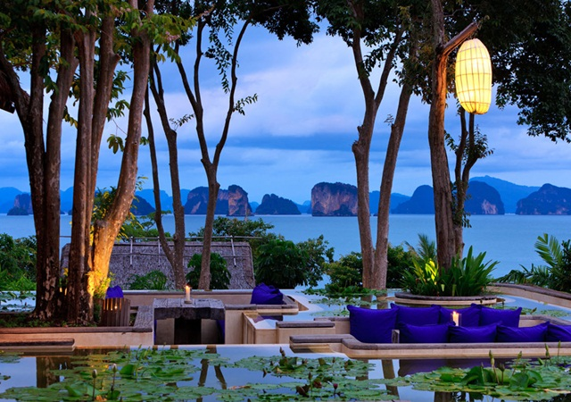 View from the den at night in Six Senses Yao Noi overlooking Phang Nga Bay in Thailand