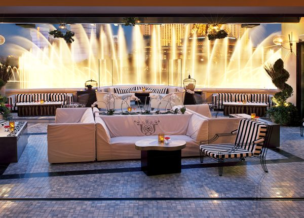 View of the lounge and fountains at Bellagio in Las Vegas.