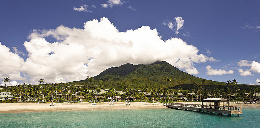 View of the island and mountains at Four Seasons Nevis from St Kitts & Nevis in the Caribbean